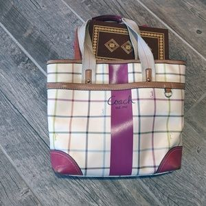 Coach Heritage Tattersall Plaid Tote Shoulder bag
